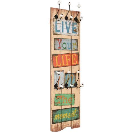 Perchero de pared LIVE LIFE con 6 ganchos 120x40 cm
