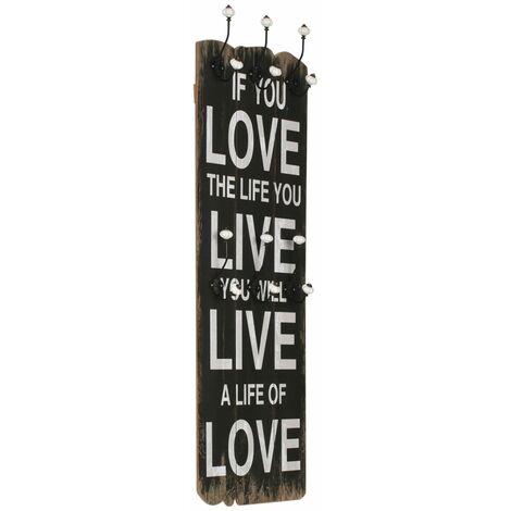 Perchero de pared LOVE LIFE con 6 ganchos 120x40 cm