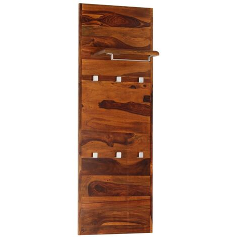 Perchero de pared madera maciza de sheesham 118x40 cm - Marrón