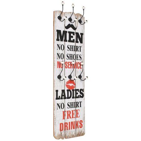 Perchero de pared MEN LADIES con 6 ganchos 120x40 cm