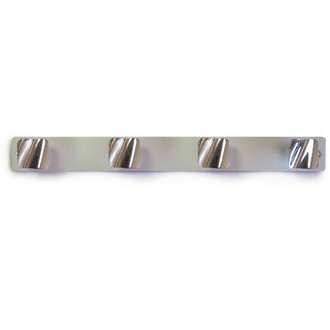 Perchero de pared moderno adhesivo y atornillable, fabricado en zamak y aluminio, con acabado cromo brillo/anodizado mate y 4 pomos