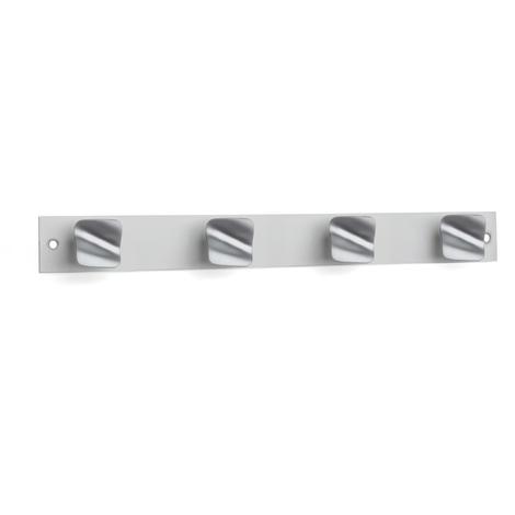 Perchero de pared moderno adhesivo y atornillable, fabricado en zamak y aluminio, con acabado cromo mate/anodizado mate y 4 pomos