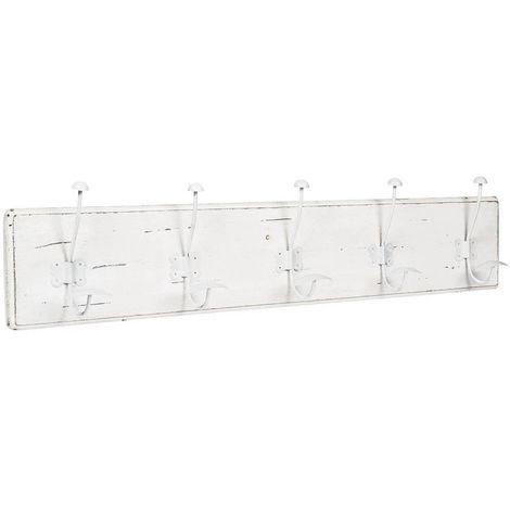 Perchero de pared, perchero de pared en madera y hierro, perchero L98xPR10xH21 cm