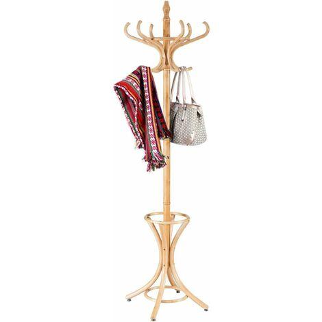 Perchero de Pie Madera 184cm Perchero Árbol con Soporte 12 Perchas para Colgar Ropa Sombrero para Habitación Hogar Oficina (Color Natural)