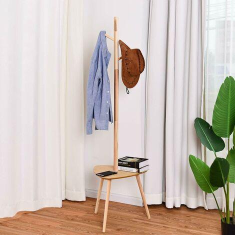 Perchero de Pie Perchero Madera de Árbol con estante para Ropa Zapato Bolsa Color Natural