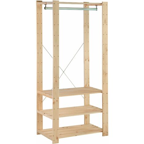 Perchero de ropa Evolution de madera macizo de pino 174,2x76,7x43cm