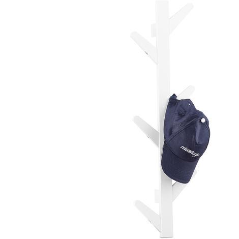 Perchero Pared con 6 Ganchos, Colgador Ropa, Toallero Árbol, Baño y Recibidor, Bambú, 78 x 26 x 7 cm, Blanco