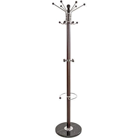 Perchero - perchero de pie estable con ganchos, perchero con paragüero y base de piedra, perchero de metal moderno