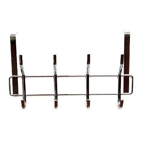 Perchero puerta metal cromado 4 ganchos (34x9.5x19.5)