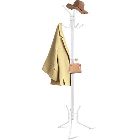 Perchero, Soporte de Abrigos y Sombreros, Blanco, Tamaño: 50,0 x 50,0 x 177,8 cm