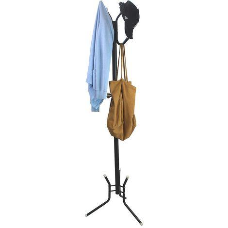 Perchero, Soporte de Abrigos y Sombreros, Negro, Tamaño: 50,0 x 50,0 x 177,8 cm