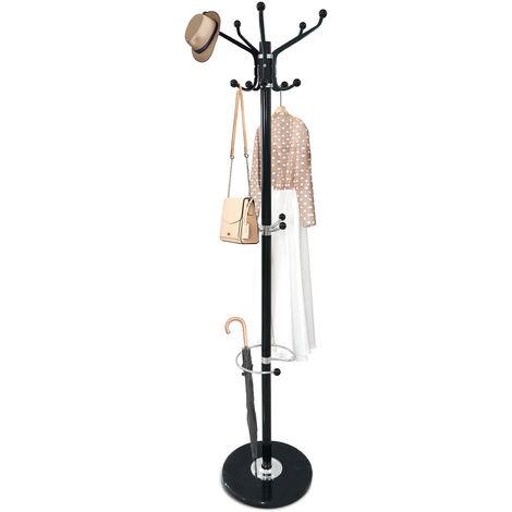 Perchero, Soporte para Abrigos y Sombreros, Negro, Tamaño: 36,8 x 36,8 x 176,0 cm