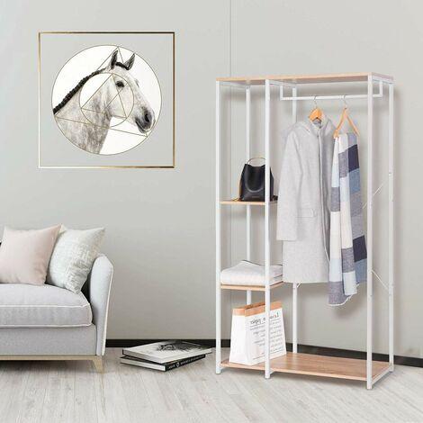 perchero y zapato del estante con la plataforma, de madera y acero roble de luz blanca