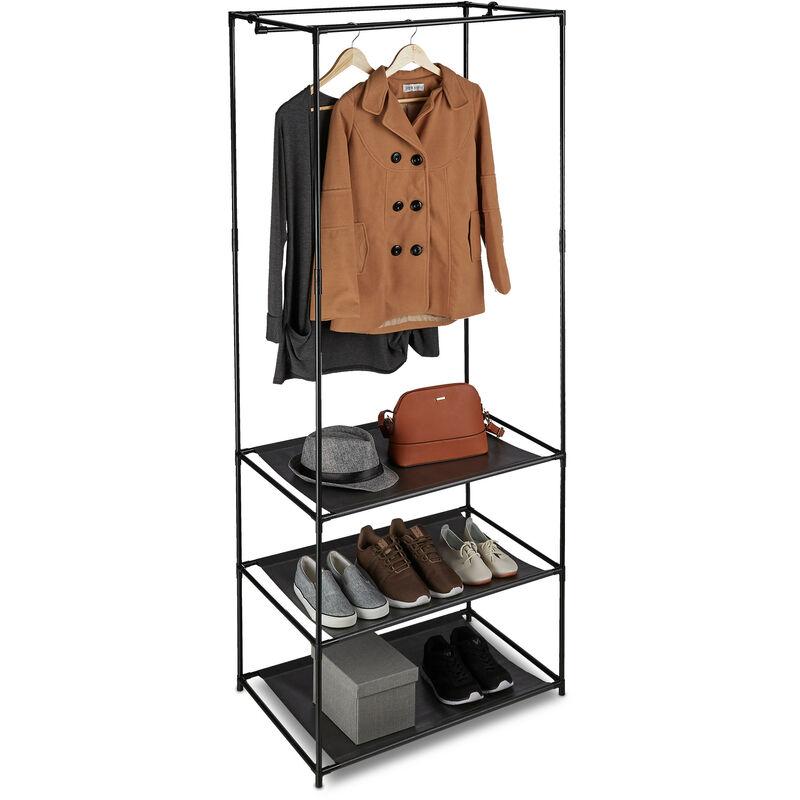 Perchero moderno con estante para ropa zapatos perchero burro movil 55 X 42 X 160 cm negro Perchero Burro con ruedas