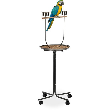 Perchoir perroquet, XL, barre en bois, 2 mangeoires, à roulettes, calopsittes, HLP 130 x 60 x 60 cm, argenté