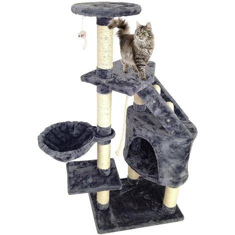 Perchoir pour Chat, Arbre à Chat, 120 cm, 5 perchoirs, Gris, Matériau: MDF