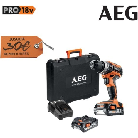 Percussion drill AEG 18V Pro Lithium - 2 batteries 2.0Ah - 1 charger BSB18C2LI-202C