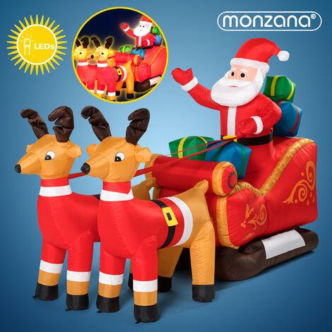 Père Noël gonflable avec traîneau et rennes décoration 240x92x155 cm enfant IP44 pompe incluse 6x Piquets de terre autogonflant
