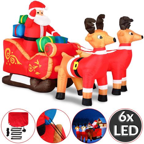 Père Noël gonflable avec traîneau et rennes décoration enfant IP44 pompe incluse