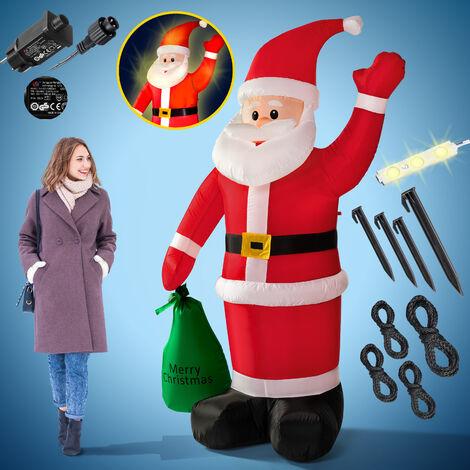 Père Noël gonflable décoratif 180 cm décoration lumineuse éclairage Fêtes Noël
