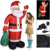 Père Noël gonflable décoratif 195 cm décoration lumineuse éclairage Fêtes Noël