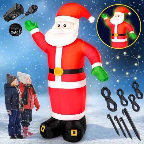 Père Noël gonflable XXL décoratif lumineux fête Noël 250cm pompe électrique intérieur et extérieur 4x piquets de terre autogonflant 4x LEDs