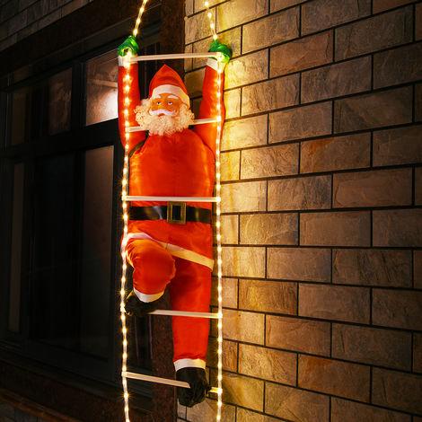 Père Noël grimpeur sur échelle illluminée 48 LEDs pour intérieur extérieur IP44 décoration fête lumière blanc chaud fixations