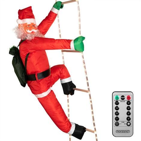 Père Noël grimpeur sur échelle illuminée par 120 LED pour intérieur et extérieur Décoration