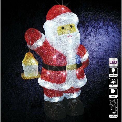 Père Noël lumineux avec lanterne et sac 40 LED - Blanc froid - Secteur