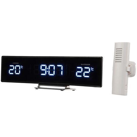 Perel Clock with Temperature Display - Black