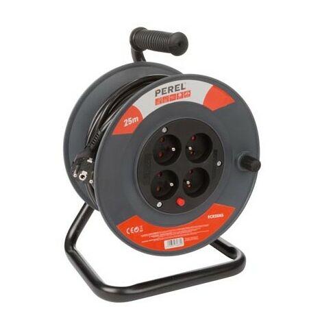 Perel Enrouleur à 4 Prises Enrouleur de Câble Enrouleur de Cordons Électriques Rallonge Électrique Dévidoir Tambour Rouleau Enrouleur 25/50 m