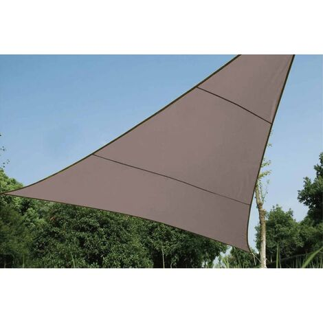 Perel Shade Sail Triangle 5 m Outdoor Garden Patio Canopy Breathable Shelter Sun Shade Sail Sunscreen Awning 90% UV protection Taupe/Cream
