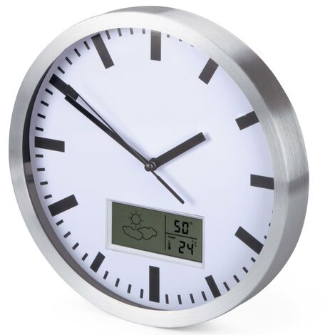 Perel Wall Clock 25 cm White and Sliver - White
