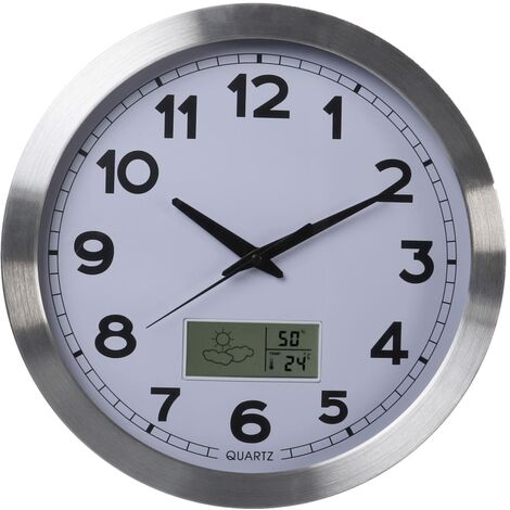 Perel Wall Clock 35 cm White and Sliver - White