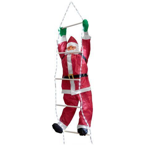 Pères Noël sur échelle 220cm décoration de Noël Noël Saint Nicolas pour l'extérieur/l'intérieur - type 1
