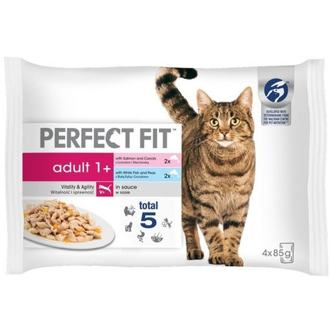 Perfect Fit Adult 1 + Mixed Fishy Pouch 85g (4pk) x 13 (720487)