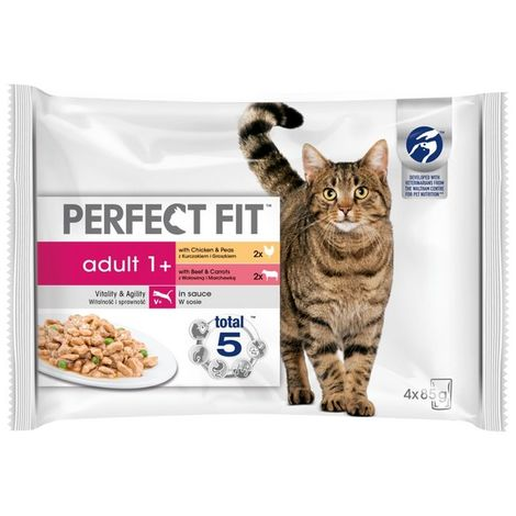 Perfect Fit Adult 1 + Mixed Meaty Pouch 85g (4pk) x 13 (720488)