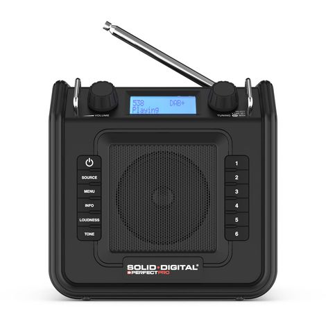 PerfectPro SOLIDDIGITAL Radio de trabajo FM RDS - DAB+ - aux-in - tomacorriente
