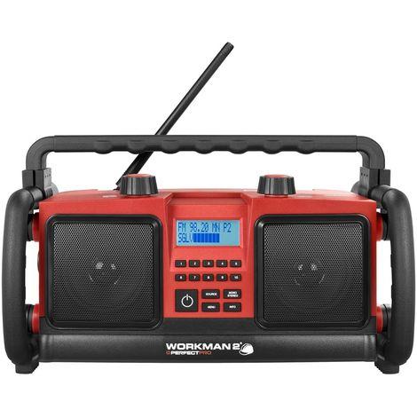 PerfectPro WORKMAN 2 - Radio de chantier - FM RDS - Prise Aux-in - Courant secteur et piles