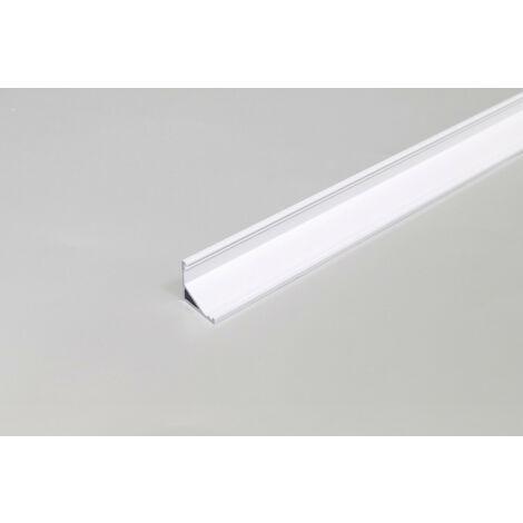 Perfil Aluminio Esquina Led Difusor Opaco Blanco Cabi12 2m Cabi12