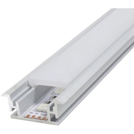 Perfil aluminio Fat con alas para empotrar 2 metros 12V/24V