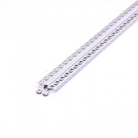 Perfil aluminio Mini tira LED empotrable 2 metros - Difusor plano Milky cover