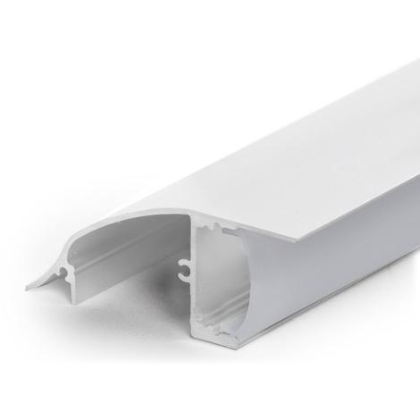 Perfíl Aluminio para Tira LED Blanco Instalación Pared - Difusor Opal x 1M (SU-W001-W)