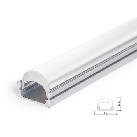 Perfíl Aluminio para Tira LED Difusor Transparente LLE-ALP001-RL x 2M (LLE-ALP001-RL)