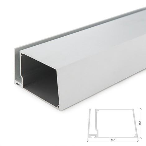 Perfíl Aluminio para Tira LED Estanterías Cristal Espesor 8Mm - Alojamiento Transformador x 2M (SU-G004-2M)