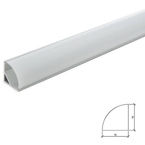 Perfíl Aluminio para Tira LED Instalación Esquinas - Difusor Opal x 2M (SU-A1616)