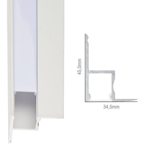 Perfíl Aluminio para Tira LED Instalación Techos Difusor Opal x 1M (SU-A4535)