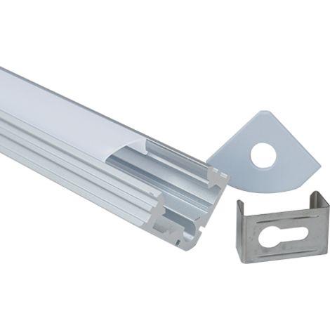 Perfil aluminio tira led de esquina 1 mts. - Difusor plano opal