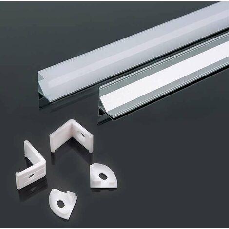 Perfil aluminio tira LED de esquina sup. 2 m - Difusor curvo White cover
