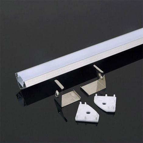 Perfil aluminio tira LED de esquina sup. 2 m - Difusor plano Milky cover